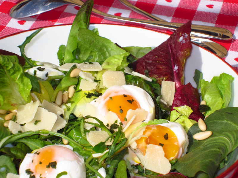 insalata di erbe di campo con uova barzotte