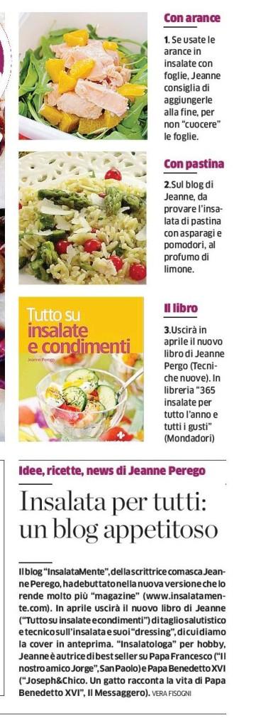 Nella foto un ritaglio della pagina del quotidiano La pRovincia in cui si parla di InsalataMente