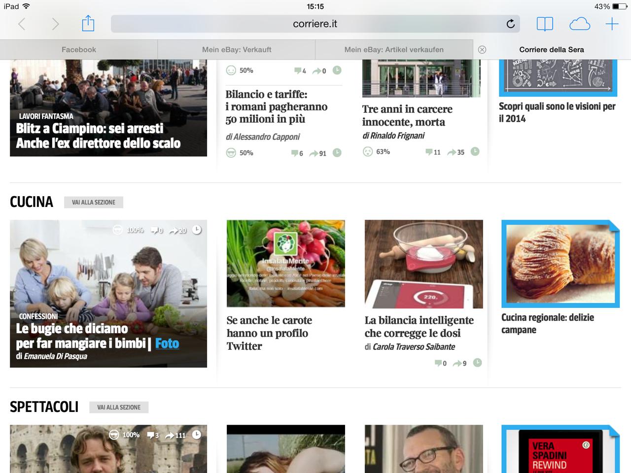 Nella foto si vede la parte della homepage del Corriere che mostra la presenza Twitter di InsalataMente