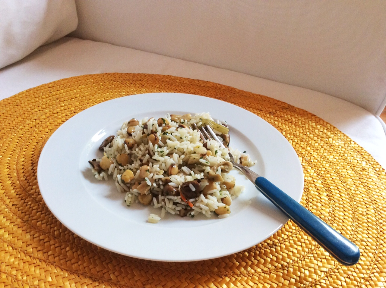 Nella foto si vede un piatto di insalata di riso su un divano