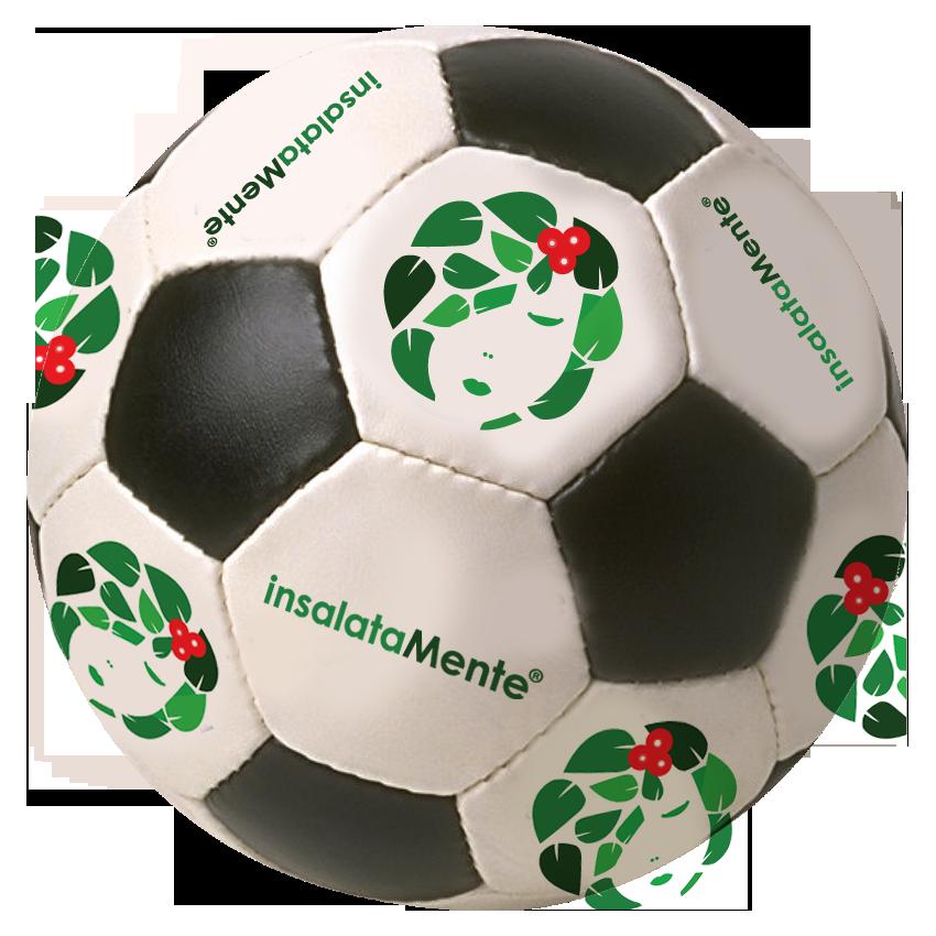 Nella foto si vede un pallone da calcio conil  marchio e logo InsalataMente
