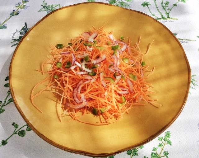 Insalata di carote e cipolla di Tropea su piatto giallo