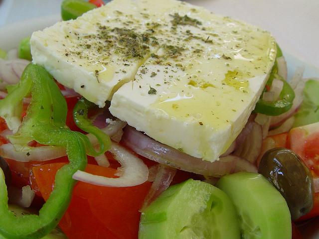 Close up su insalata greca
