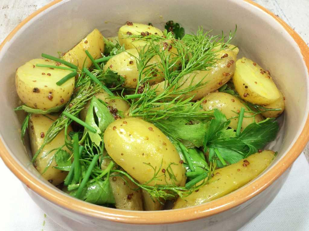 Insalata di patate alle erbe in ciotola di coccio