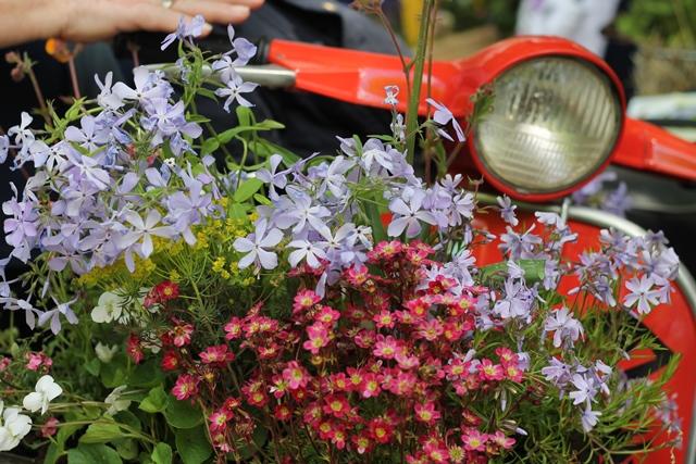 fiori davanti a fanale di vespa