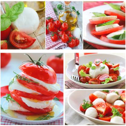 collage immagini insalata caprese