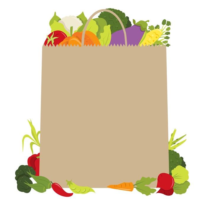 Illustrazione di bosa della spesa con frutta e verdura