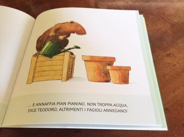pagina interna del libro Teodoro coltiva i fagioli
