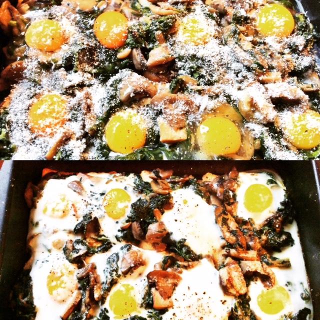 funghi, spinaci e uova pronti per entrare in forno e già cotti