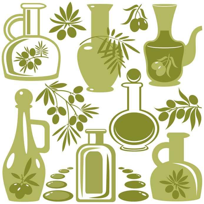 illustrazione che mostra bottiglie di olio d'oliva