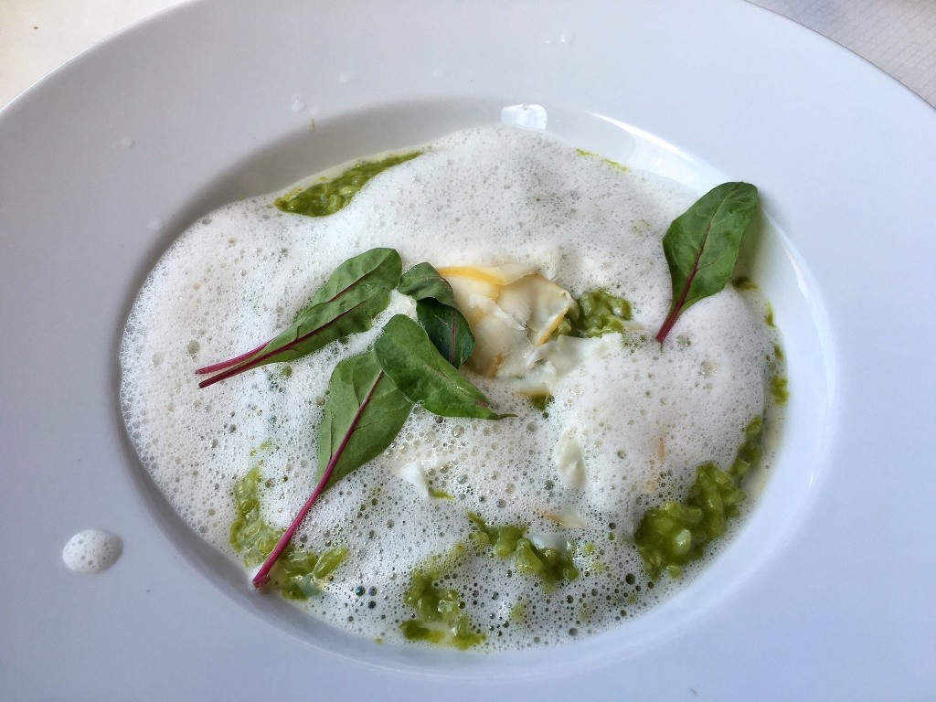 risotto all'aglio orsino con scamorza in piatto bianco