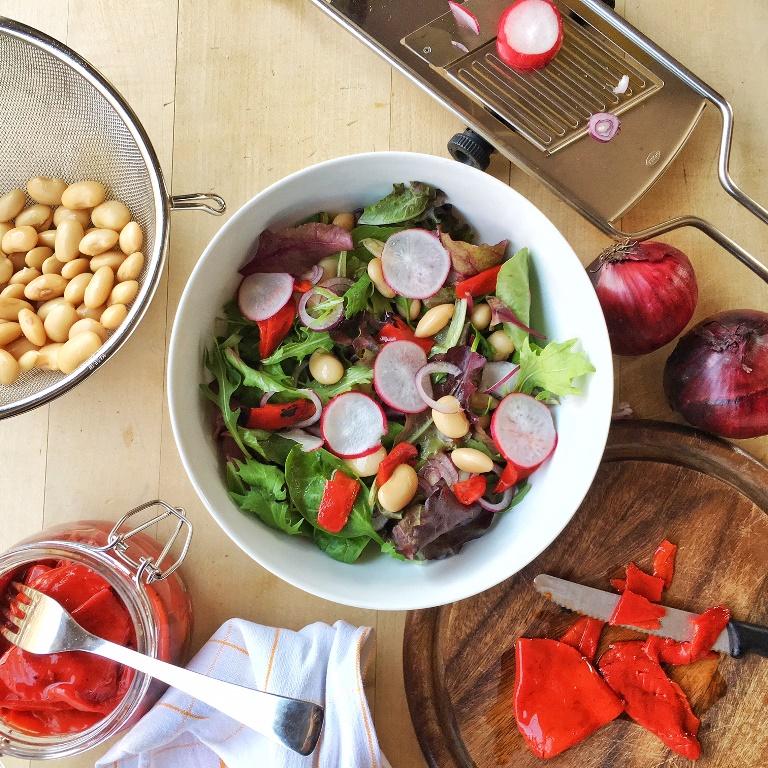 ciotola di insalata con fagioli e ravanelli accanto a ingredienti e mandolina