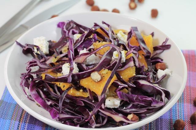 insalata di cavolo rosso e arancia