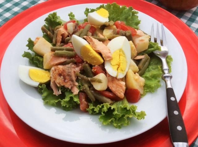 salade nicoise con salmone su piatto bianco